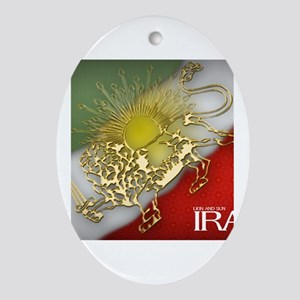 Iran Golden Lion & Sun Oval Ornament