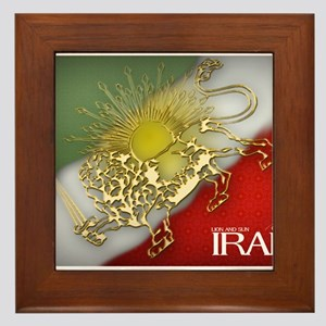 Iran Golden Lion & Sun Framed Tile