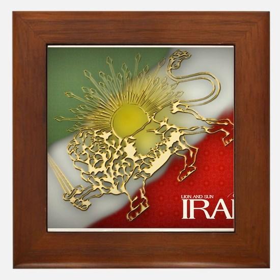 Iran Golden Lion & Sun Framed Tile