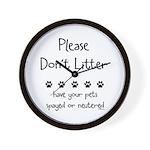 Please Dont Litter Wall Clock