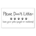 Please Dont Litter Sticker (Rectangle 50 pk)