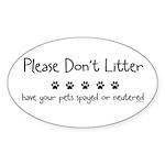 Please Dont Litter Sticker (Oval 50 pk)