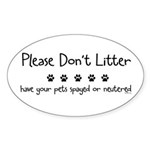 Please Dont Litter Sticker (Oval 10 pk)