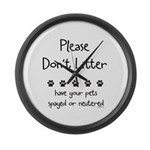 Please Dont Litter Large Wall Clock