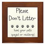 Please Dont Litter Framed Tile