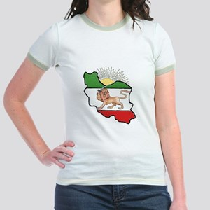 Iran Flag-Map & Sun Jr. Ringer T-Shirt