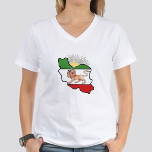 Iran Flag-Map & Sun Women's V-Neck T-Shirt