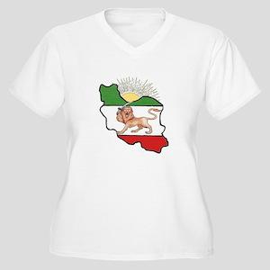 Iran Flag-Map & Sun Women's Plus Size V-Neck T-Shi