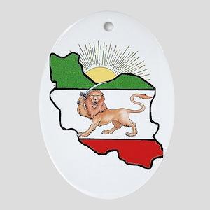 Iran Flag-Map & Sun Oval Ornament