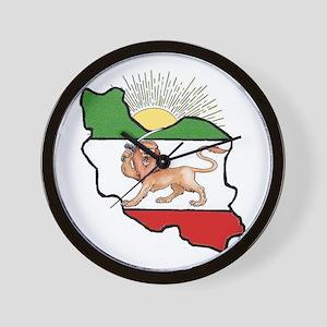 Iran Flag-Map & Sun Wall Clock