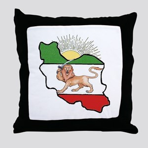 Iran Flag-Map & Sun Throw Pillow