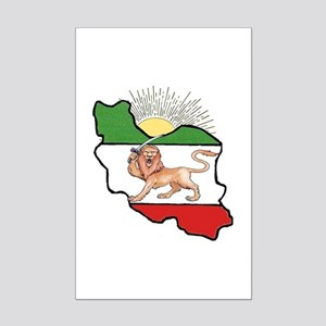Iran Flag-Map & Sun Mini Poster Print