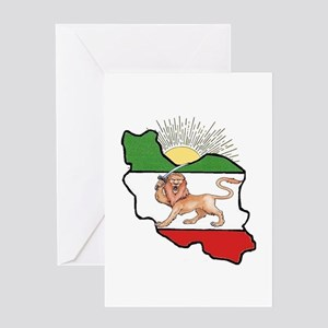 Iran Flag-Map & Sun Greeting Card