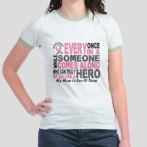 HERO Comes Along 1 Mom BREAST CANCER Jr. Ringer T-