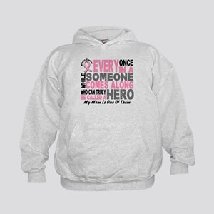 HERO Comes Along 1 Mom BREAST CANCER Kids Hoodie