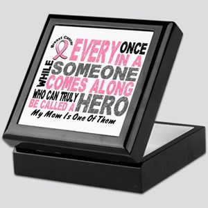 HERO Comes Along 1 Mom BREAST CANCER Keepsake Box