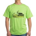 Audubon Caribou Reindeer Animal Green T-Shirt