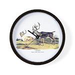 Audubon Caribou Reindeer Animal Wall Clock