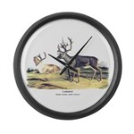 Audubon Caribou Reindeer Animal Large Wall Clock