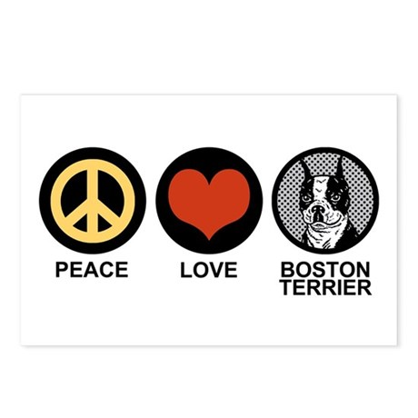 Peace Love Boston Terrier Postcards (Package of 8)
