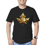 Canada Men's Fitted T-Shirt Gold Chrome Leaf Tee