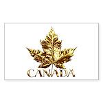 Gold Canada Souvenir Rectangle Sticker 50 pk)