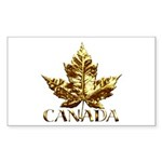 Gold Canada Souvenir Rectangle Sticker 10 pk)