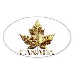 Gold Canada Souvenir Oval Sticker (50 pk)