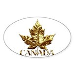 Gold Canada Souvenir Oval Sticker (10 pk)