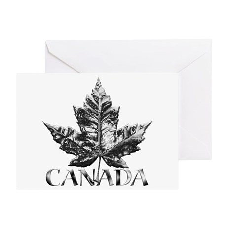 Canada Greeting Cards 10 pk Gold Maple Leaf Art