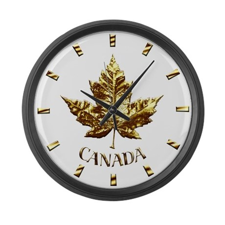 Canada Large Wall Clock Chrome Maple Leaf Art