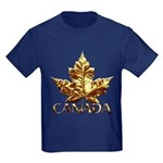 Canada Kids T-Shirt Dark Cool Gold Leaf T-shirt