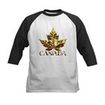 Kids Canada Baseball Jersey Gold Maple Leaf Art