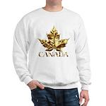 Canada Sweatshirt Gold Chrome Maple Leaf Shirt