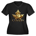 Gold Canada Women's Plus Size V-Neck Dark T-Shirt