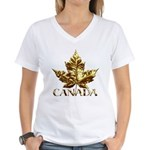 Canada Women's V-Neck T-Shirt Gold Maple Leaf Tee