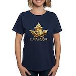 Canada Women's Dark T-Shirt Gold Maple Leaf Tee