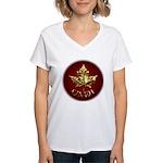 Women's Canada V-Neck T-Shirt Gold Maple Leaf