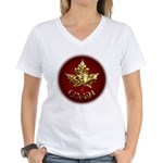 Women's Canada V-Neck T-Shirt Gold Maple Leaf