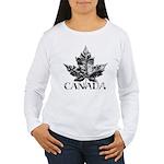 Women's Canada Long Sleeve T-Shirt Gold Leaf Art