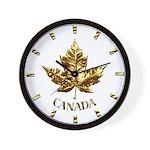 Canada Wall Clock Chrome Gold Maple Leaf Clock