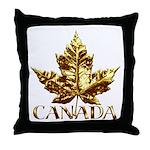 Canada Throw Pillow Gold Maple Leaf Art