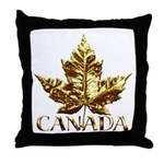 Canada Throw Pillow Gold Maple Leaf Art