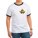 Canada Ringer T-shirt Gold Leaf Souvenir T-shirt