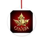 Canada Ornament Keepsake Gold Chrome Maple Leaf