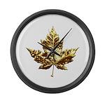 Canada Large Wall Clock Gold Maple Leaf Clock