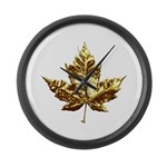 Canada Large Wall Clock Gold Maple Leaf Clock