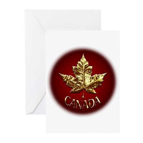 Gold Canada Greeting Cards (pk Of 20) Maple Leaf