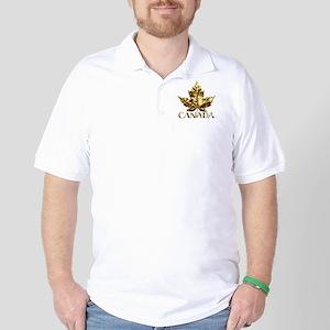 Canada Golf Shirt Gold Maple Leaf Polo Shirt