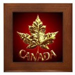 Canada Framed Tile Gold Chrome Maple Leaf